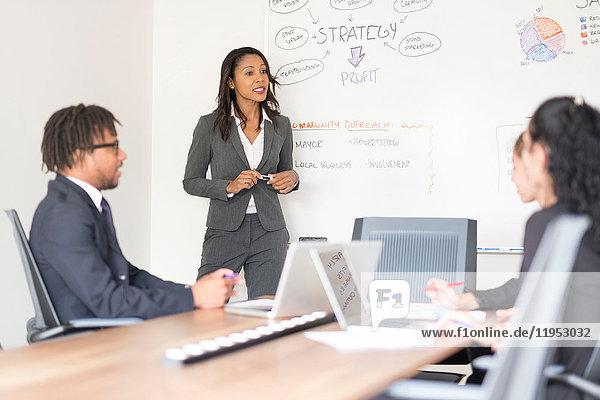 Geschäftsmann und Geschäftsfrauen im Besprechungsraum  Geschäftsfrau  steht vorne  erklärt Geschäftsstrategie