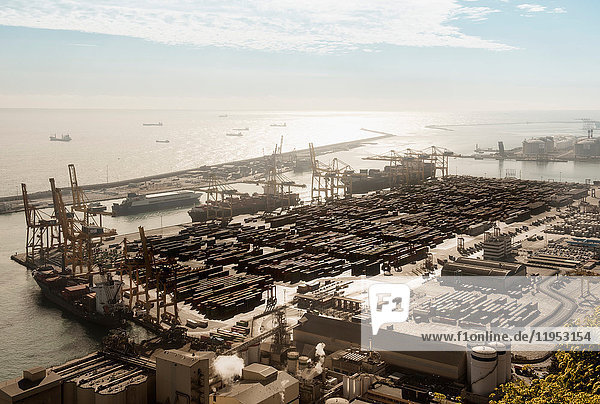 Elevated view of port ships and cranes  Barcelona  Spain