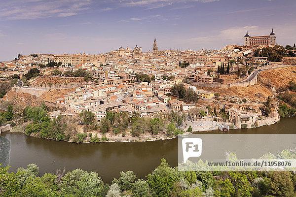 View over Tajo River at Santa Maria Cathedral and Alcazar  UNESCO World Heritage Site  Toledo  Castilla-La Mancha  Spain  Europe