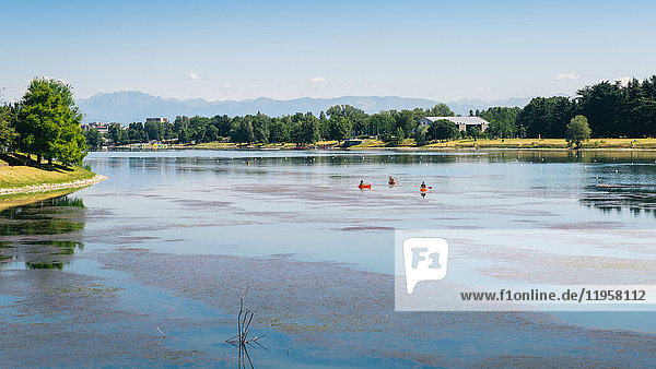 Kayaks at Idroscalo  a large park just outside the city centre on a summer's day  with Alps visible  Milan  Lombardy  Italy  Europe
