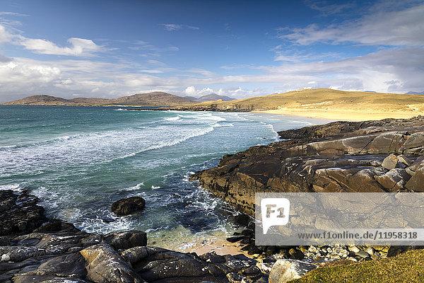Rocky shoreline on west coast of Isle of Harris  Outer Hebrides  Scotland  United Kingdom  Europe