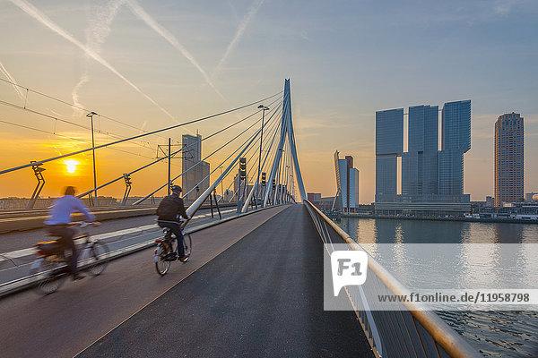 Erasmusbrug (Erasmus Bridge) and Wilhelminakade 137  De Rotterdam  The Rotterdam Building  Rotterdam  South Holland  The Netherlands  Europe