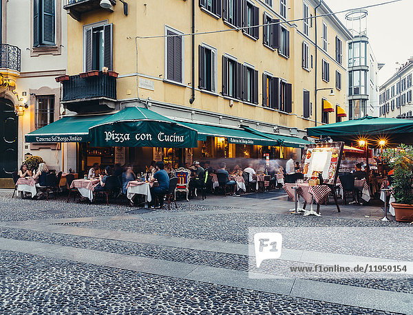 Restaurants in the fashionable district of Brera in Milan  Lombardy  Italy  Europe