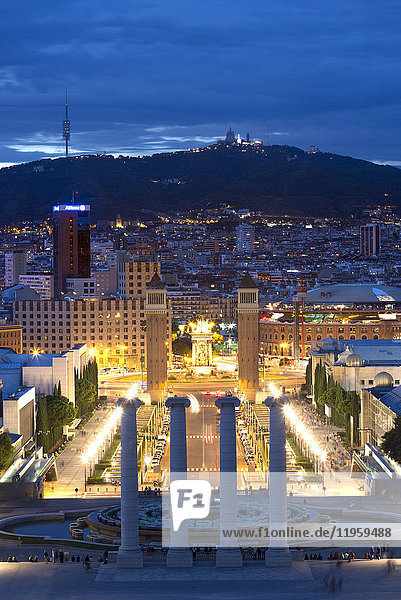 View at twilight from the steps to the Palau Nacional on Montjuic Hill over Barcelona  Catalonia  Spain  Europe