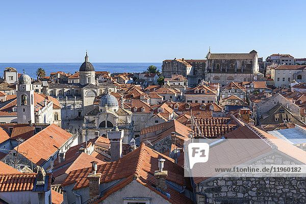 View across the rooftops of the historic old town of Dubrovnik  and a view to the Adriatic Sea.