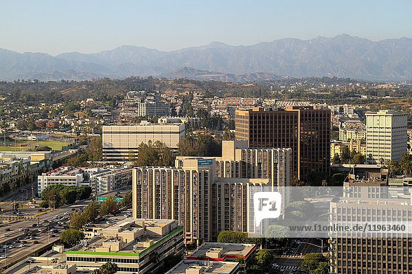 A view from the BonaVista Lounge in the Westin Bonaventure Hotel of Promenade Towers Apartments and other buildings in Downtown Los Angeles  California  United States.