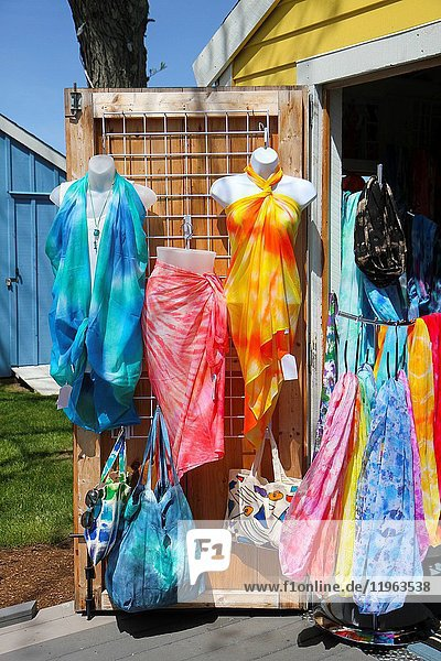 Clothes  bags  and scarves for sale at one of the Hyannis Harbor Artist Shanties  HyArts District  Hyannis  Cape Cod  Massachusetts  United States  North America.
