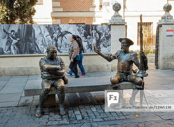 Statues of Don Quixote and Sancho Panza in front of the house of Cervantes. Alcalá de Henares. Madrid  Spain