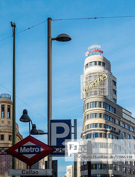 Edificio Capitol from Callao subway station. Madrid  Spain