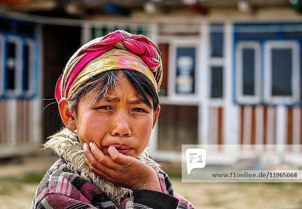 Portrait of young girl Rasuwa district  Bagmati region Nepal Asia.