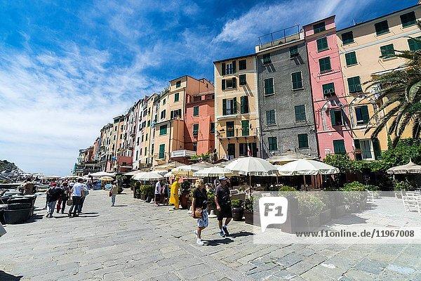 Tourists in the pedestrian center of the colorful village Portovenere La Spezia province Liguria Italy Europe.
