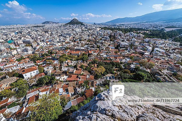 Aerial view from Acropolis of Athens city on Plaka historical district  Greece. Mount Lycabettus seen on photo.