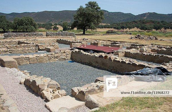 Archaelogical site of the Roman city of Turobriga. Aroche  Huelva province  Andalucia  Spain.