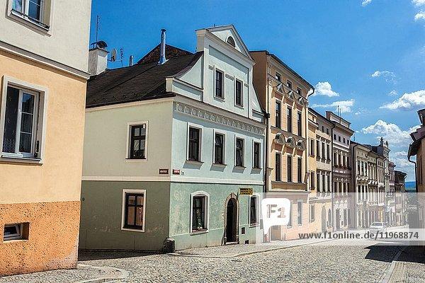 Broumov  Czech Republic  street of Old Town.