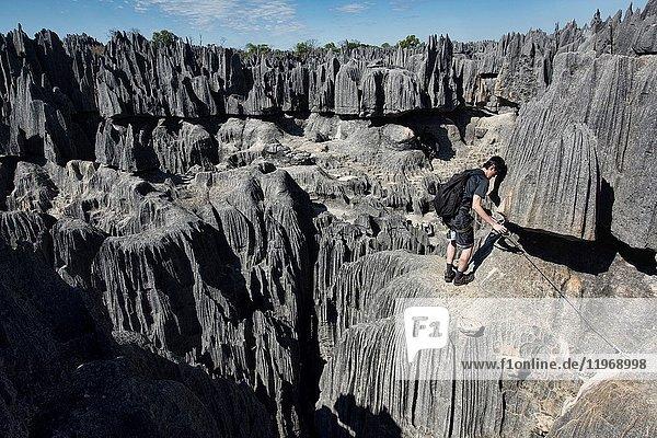 Via Ferrata route  Tsingy de Bemaraha National Park  Madagascar.
