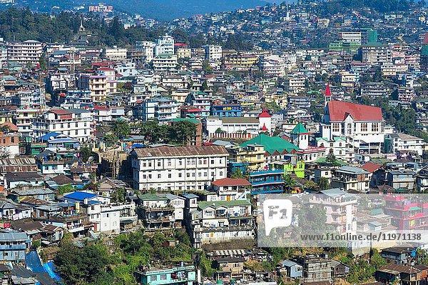 View over Kohima city  Nagaland  India.
