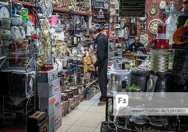 Household items shop on the old Bazaar of Kashan city  capital of Kashan County in Iran.