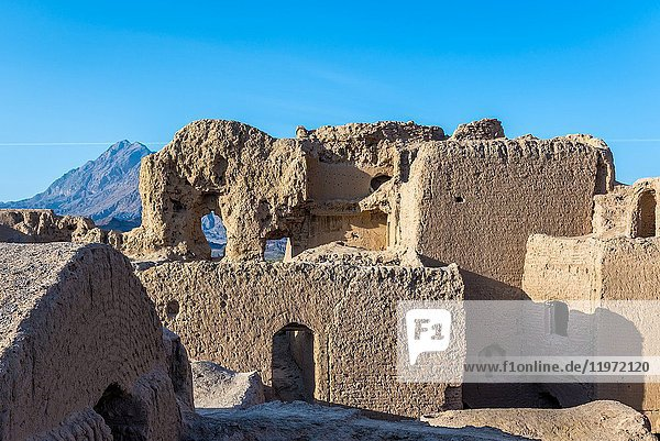 Buildings in ancient  abandoned part of Kharanaq village in Ardakan County  Yazd Province  Iran.