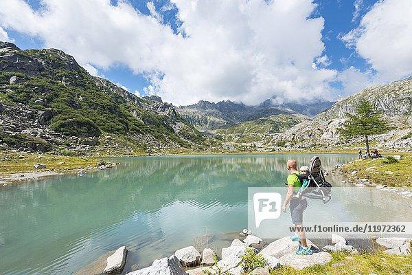 Tourist to the lower Cornisello lake.