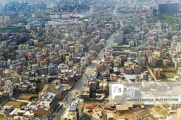 Aerial view of Kathmandu  Nepal.