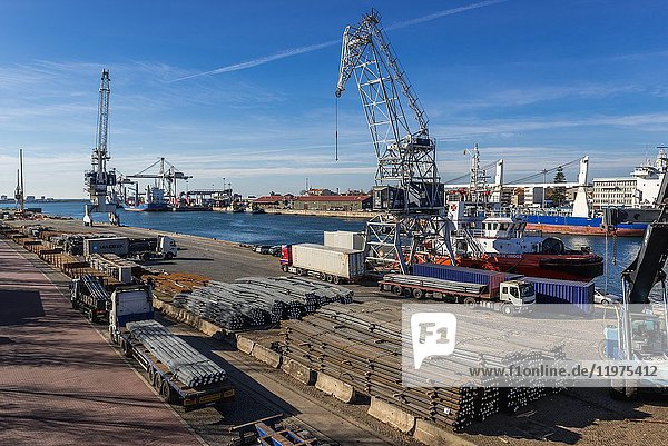 Port of Leixoes in Matosinhos city  bordered with Porto  part of Grande Porto subregion in Portugal. View from movable bridge.