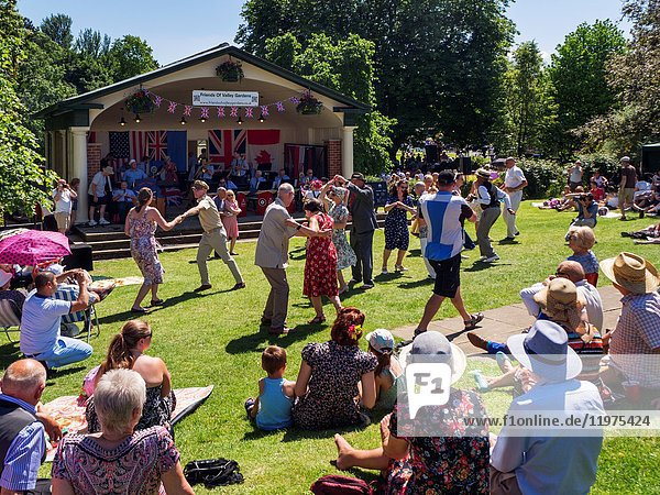 Swing Dancers at the Bandstand during the Annual 1940s Open Day in Valley Gardens Harrogate North Yorkshire England.