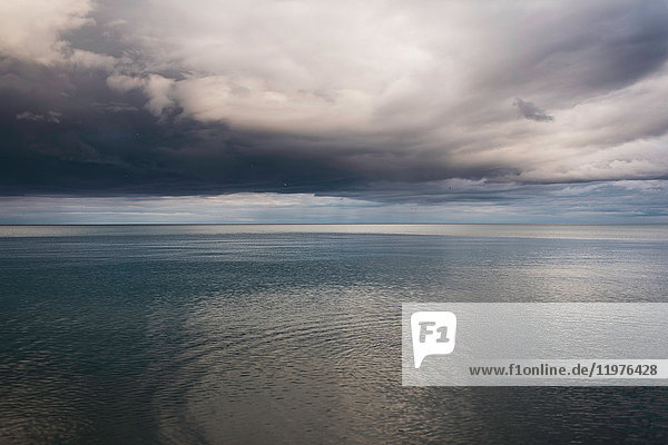 Lake and dramatic stormy sky  Oshawa  Canada