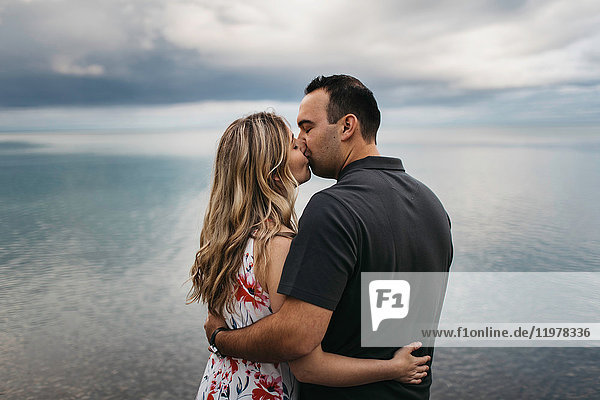 Romantic couple kissing by water  Oshawa  Canada