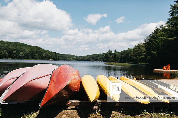 Canoes by lake  Huntsville  Canada
