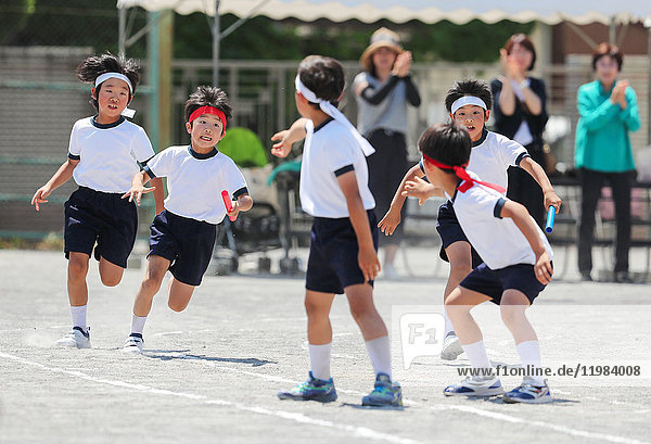 Japanese kids during school sports day