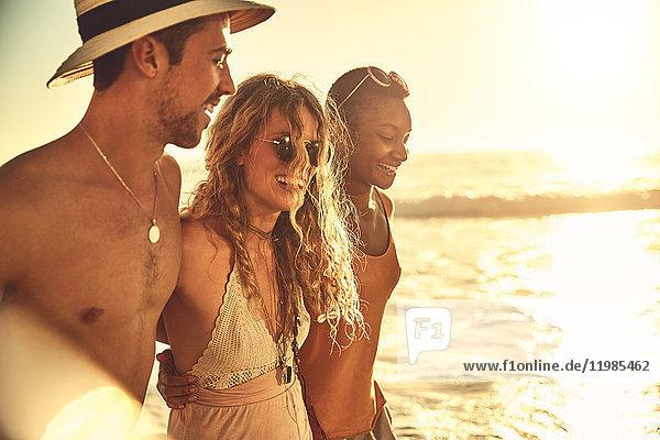 Lächelnde junge Freunde am sonnigen Sommer-Sonnenuntergangsstrand