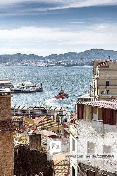 Partial view of the Ria de Vigo  Pontevedra  Galicia  Spain  Europe