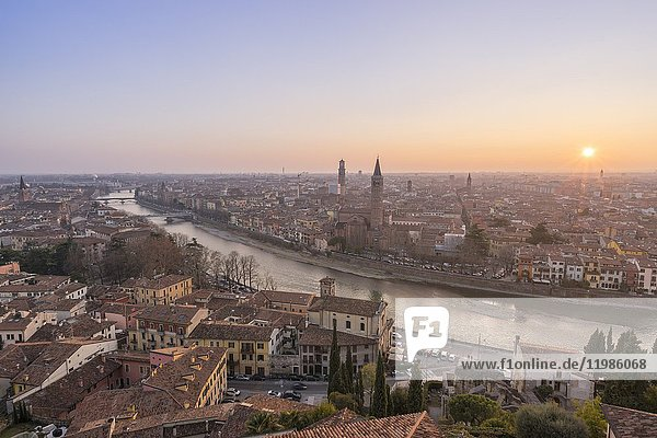 Verona  Veneto  Italy. Panoramic view of Verona from Piazzale Castel San Pietro.