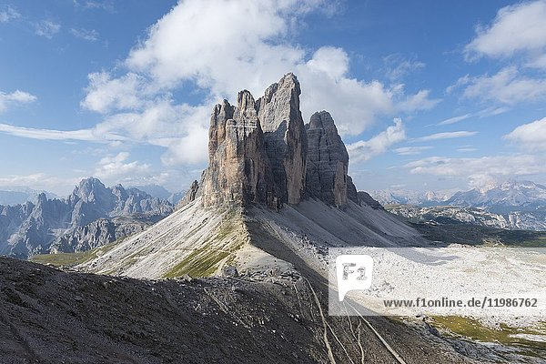 Europe  Italy  Dolomites  Veneto  Belluno. Tre Cime di Lavaredo seen from Trenches of the First World War on Mount Paterno.