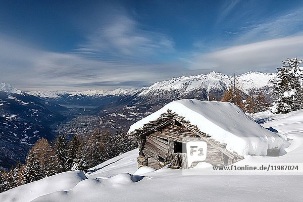 Snow chalet at Orobie Alps  Valtellina  Lombardy  Italy.