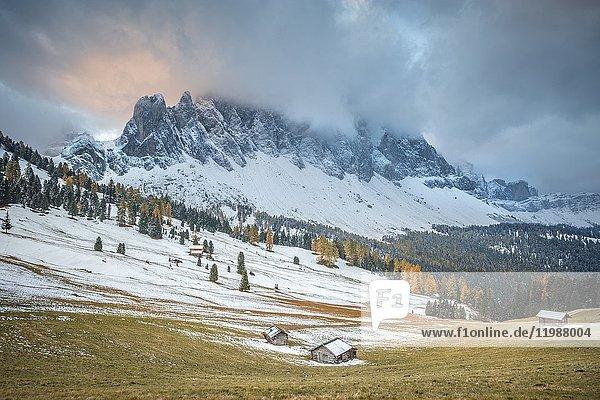 Sunrise near Malga Gampen  Puez Odle Natural Park  South Tyrol  Italy.