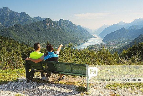 Landscape of Idro lake  Brescia province in Italy  Lombardy district  Europe.