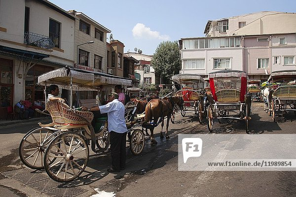 Horse carts at the center station in front of the traditional wooden houses in Buyukada-Prinkipos  the largest of the Prince Islands  Marmara Sea  Istanbul  Turkey  Europe.