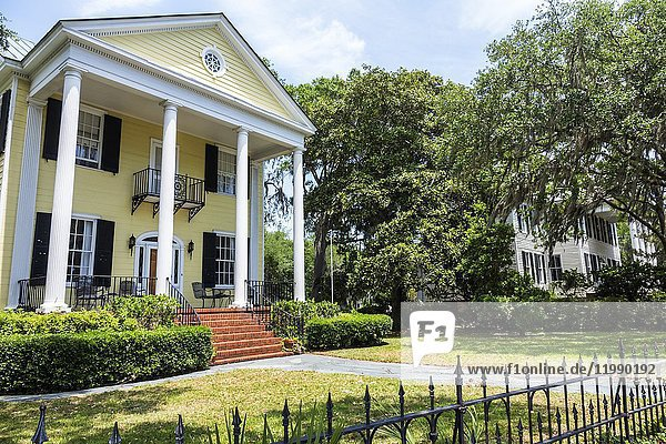 South Carolina  Beaufort  Bay Street  home  mansion  E. A. Scheper House  architecture  exterior  porch  yard  wrought iron fence  columns