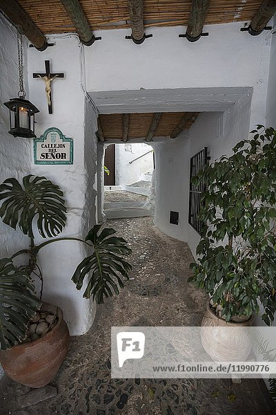 Hideouts of Frigiliana. Passageway. Frigiliana  Andalusia  Spain  Europe.