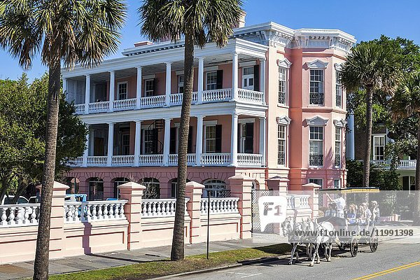 South Carolina  SC  Charleston  waterfront  East Battery  Palmer House  historic mansion  Antebellum  pink  horse-drawn carriage  guide