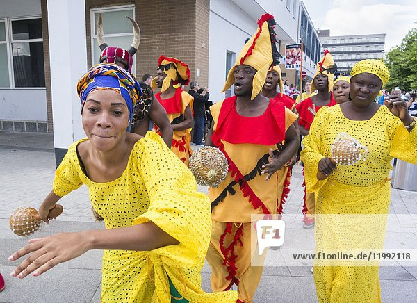 August 2017  Billingham  north east England  United Kingdom. Dancers and musicians from Ghana performing at the Billingham International Folklore Festival of World Dance  now in its 53rd year.