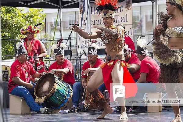 August 2017  Billingham  north east England  United Kingdom. Dancers from Tahiti performing at the Billingham International Folklore Festival of World Dance  now in its 53rd year.