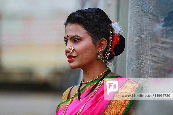 Young Indian girl in Nauwari sari   traditional Maharashtrian sari.