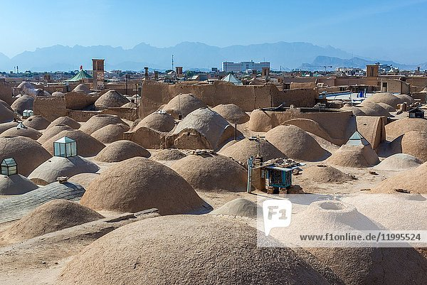 Small domes one the roofs of bazaar in Yazd  capital of Yazd Province of Iran.
