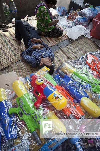 Water guns for sale. Thai New Year celebrations. Phimai  Thailand  Asia.