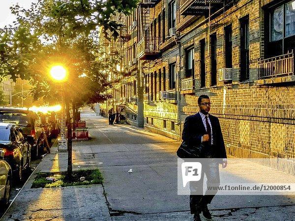 New York  New York  Manhattan  USA Dyckman Street. Manhattan Heights. Early morning.