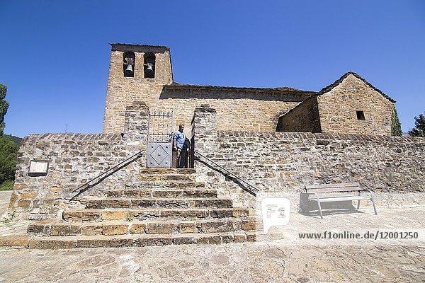 Aratores village Jacetania Huesca Spain San Juan Bautista church.