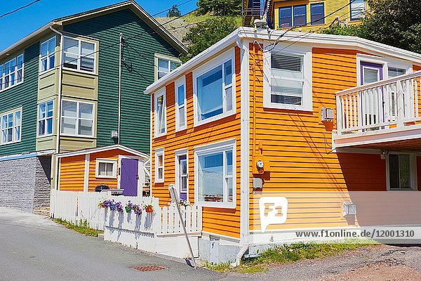 Traditional typical houses in The Battery a small neighbourhood within the city of St John's  Newfoundland  Canada.
