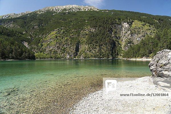 Mountain lake Blindsee near Biberwier  Tyrol  Austria.